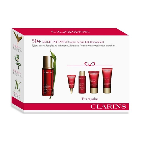 Clarins multi-intensive supra serum 50ml + hand cream 30ml + concentrated crm.15ml + lotion 10ml + concentrated eye 3ml