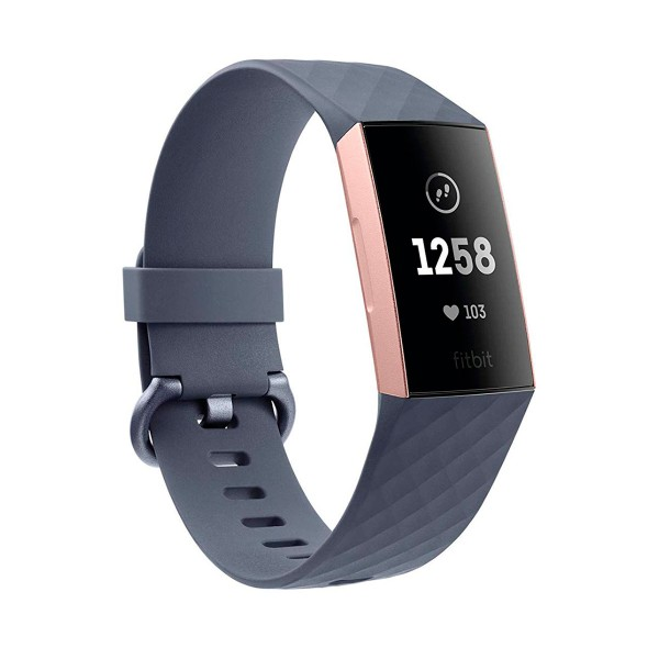 Fitbit charge 3 smartwatch deportivo gris con carcasa oro rosa