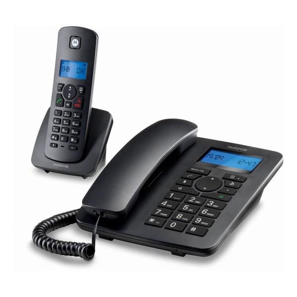 Motorola c4201 negro combo teléfono fijo y teléfono inalámbrico