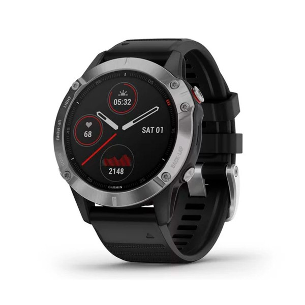 Garmin fénix 6 plata negro con correa negra 47mm smartwatch premium multideporte gps integrado wifi bluetooth
