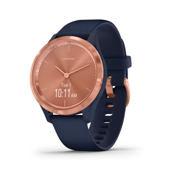 Garmin vivomove 3s oro rosa navy silicona reloj inteligente 39mm híbrido con control de frecuencia cardíaca y pulsómetro
