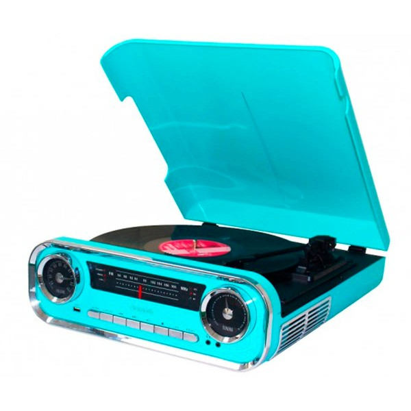 Lauson 01tt18 azul tocadiscos vintage 3 velocidades bluetooth usb grabación mp3 fm