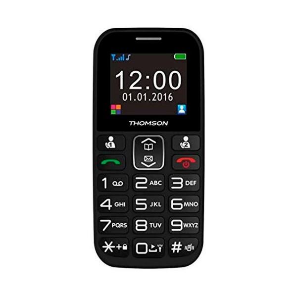 Thomson serea 49+ negro móvil senior 1.8'' tft cámara vga bluetooth radio fm base de carga