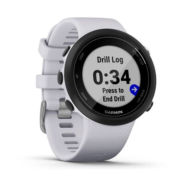 Garmin swim 2 negro con correa blanca piedra 42mm smartwatch diseñado para el agua 5atm gps