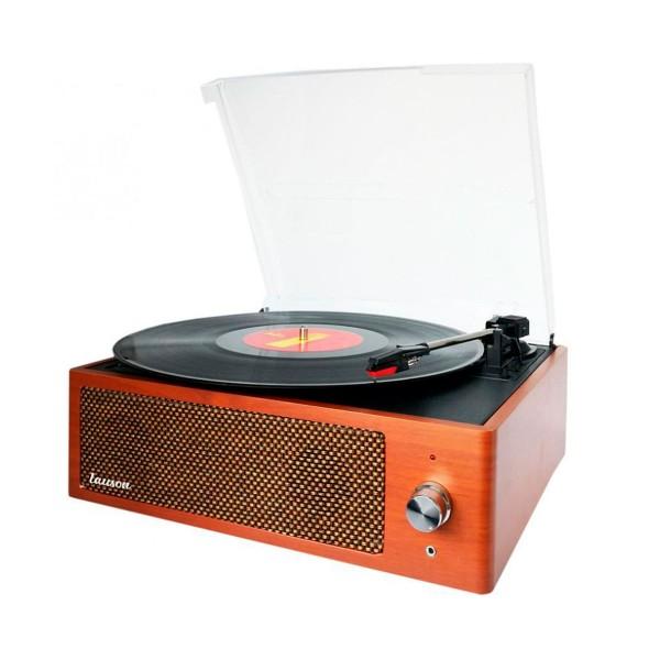 Lauson xn092 nogal tocadiscos vintage 3 velocidades bluetooth usb grabación mp3 fm