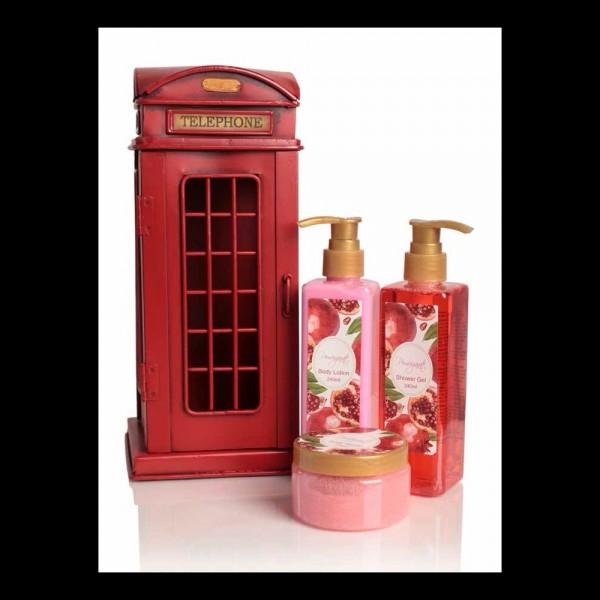 Cabina teléfono SET Vintage Decorativo   Shower gel 240 ml + Body Lotion 240 ml + Body Scrub