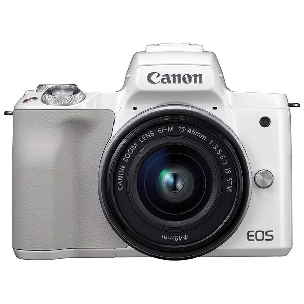 Canon kit eos m50 blanco cámara 24.1mp 4k digic 8 wifi nfc bluetooth + objetivo ef-m 15-45mm