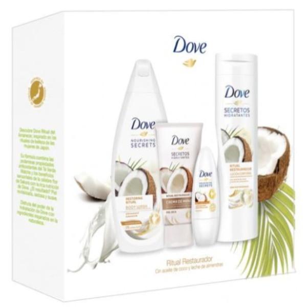 Dove set Ritual Restaurador Gel de Ducha 500 ml + Loción Corporal 400 ml + Deo Roll-On 50 ml + Crema de Manos 75 ml