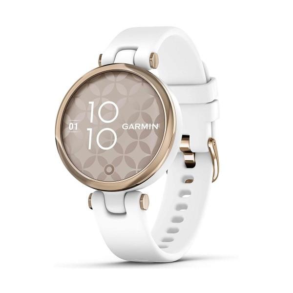 Garmin lily dorado con correa blanca 34.5mm smartwatch pequeño y elegante 5atm gps bluetooth