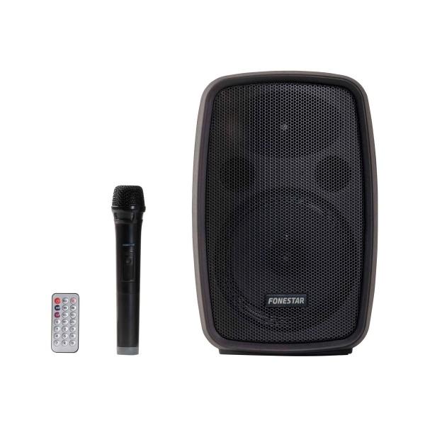 Fonestar amply negro altavoz inalámbrico portátil con micrófono y mando a distancia