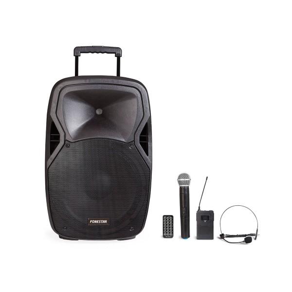 Fonestar malibu-215p negro altavoz amplificador portátil con micrófono y reproductor