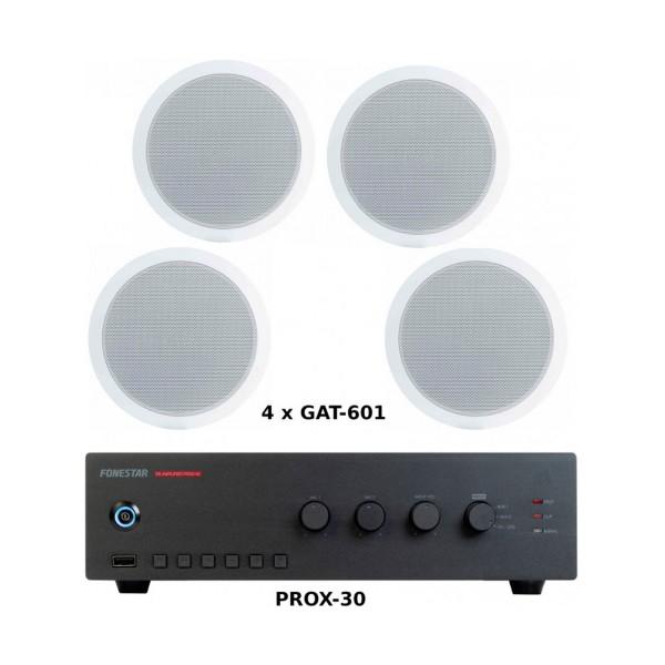 Fonestar pack ahorro 100 - amplificador prox-30 + cuatro altavoces de techo gat-601