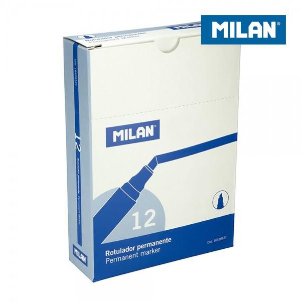 Caja 12 rotuladores permanentes punta biselada azul  milan