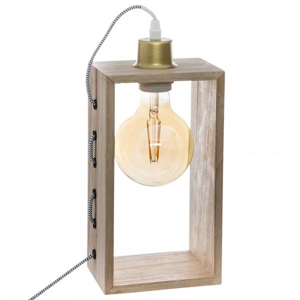 Lámpara rectangular de madera e27